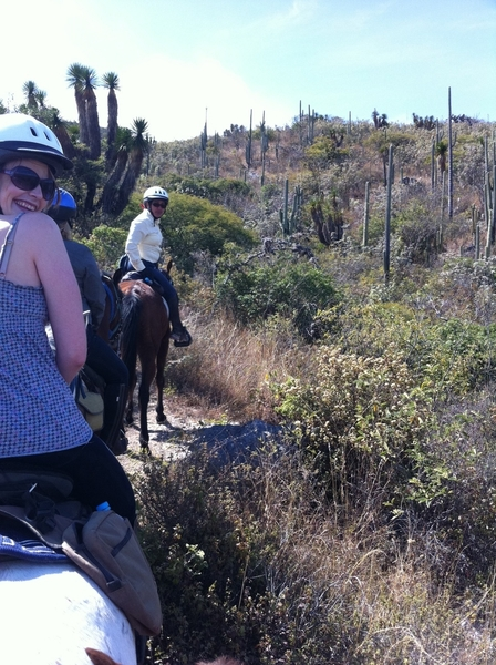 Horseback riding above Rojas de Cuautemoc (famous grassfed cheese village) w friend Mary Jane Garnier.Amzg cactus!