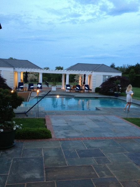Check out backyard sun setting at friends dinner party. Only in America.