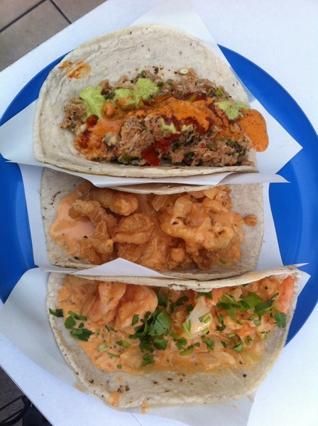 3rd set of Ensenada fish tacos: Marco Antonio: shrimp/chipotle cream; chicharrn de pescado; tuna machaca
