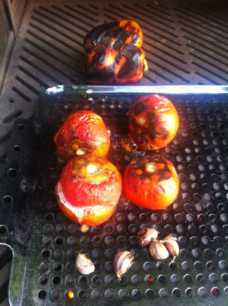 Grilled ratatouille: 1st grill tomatoes,garlic (in skin), pepper. Skin&amp;puree tom, perl grlc, skin/seed/chop pepper