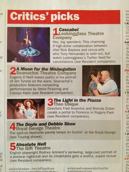 Super-exciting to see our show--Cascabel--listed as the number one Critics' Pick in this week's TimeOut!