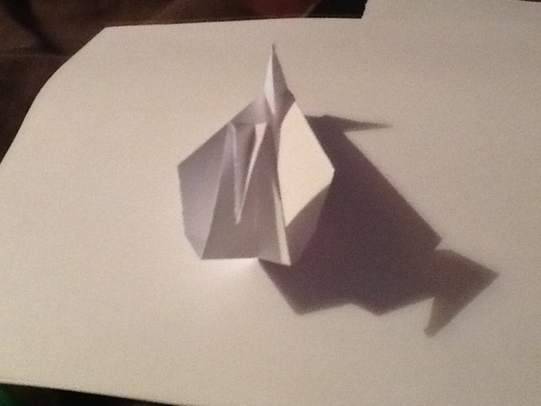 I just finished playing around with the free #HowToMakeOrigami #App by #SergeyBurlakov for #iPad & here's my 1st attempt at making a Duck: