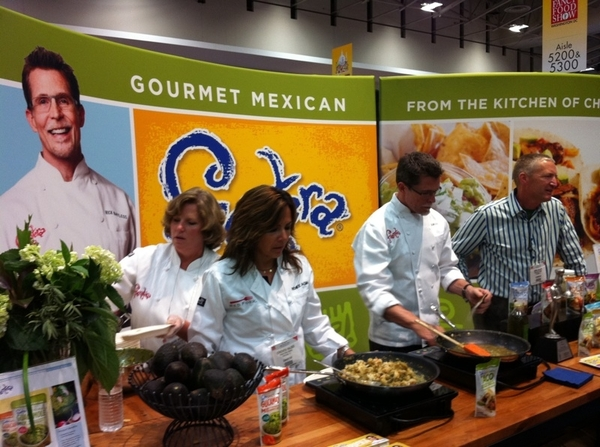 In DC @ NASFT/Fancy Food: pic if me making shrimp tacos w my Frontera Foods team