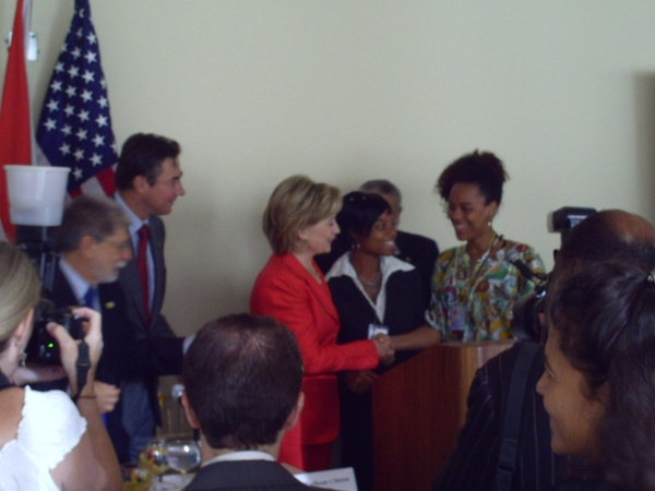 #leggy Me shaking hands with Mrs Hillary Clinton