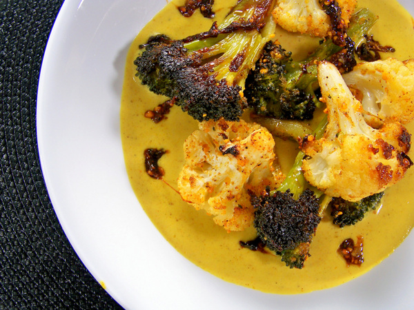 Peanut-Roasted Broccoli and Cauliflower, Thai Yellow Curry