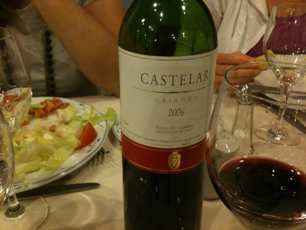 Castelar Crianza 2006 Ribera del Guadiana. Lovely caramel red fruit notes. Enjoying it a few kms from where it was produced.