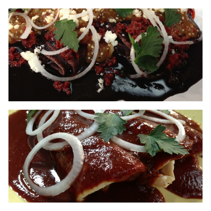 Day 1:Chgo, MOPAT #9: enfrijoladas w chorizo&chipotle salsa; chix enchiladas w Oaxacan mole coloradito