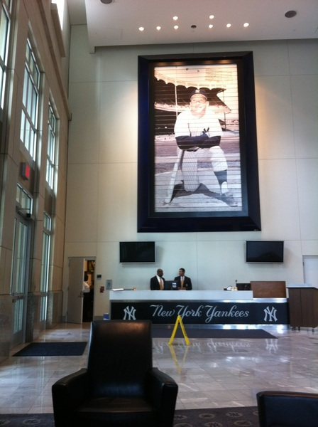 I had this same Mantle photo in my bedroom as a kid; now in Yankee Stadium office lobby. Mine was NOT 30 feet tall