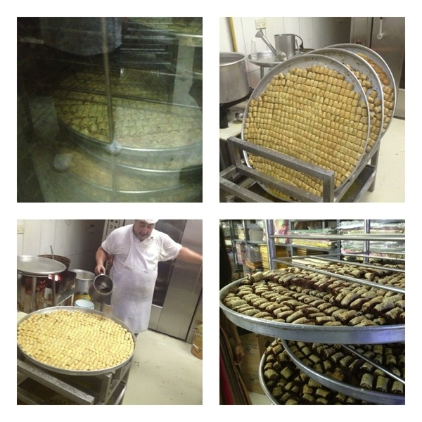 Dubai:Al Samadi Baklava factory: baklava ready for oven; baking with ghee; draining excess ghee; sprinkling w syrup