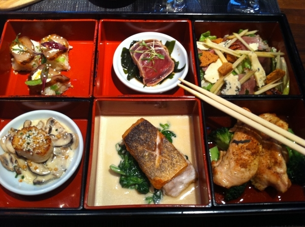 Lunch at Chaya Brasserie (Bento Box) was REALLY good. ESP the SUSHI OF hamachi with mole spices(!). Not kidding. 