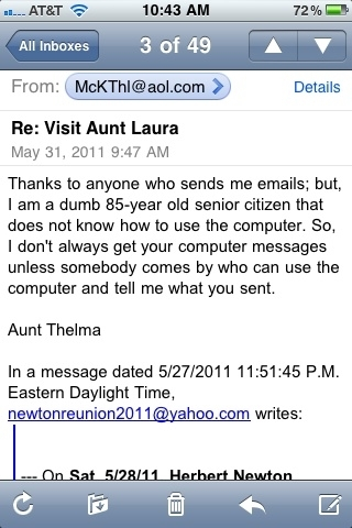 This is an email my great aunt sent out to the family #hilarious ..I&#039;m just wonderin who actually typed that 4 her