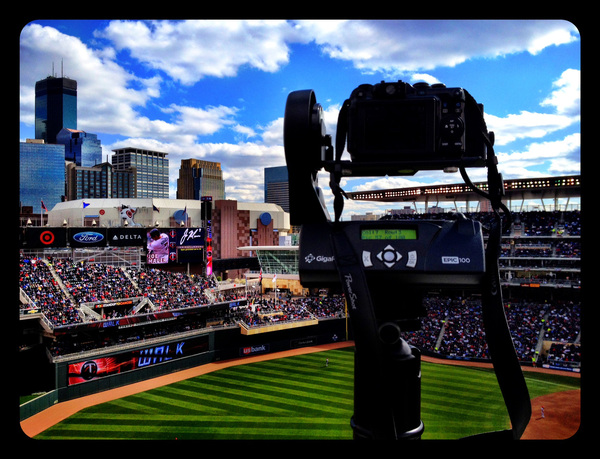 The Gigapan / @GigaPanSystems @ work in left field @ #Twins home opener vs. #Angels @ Target Field.
