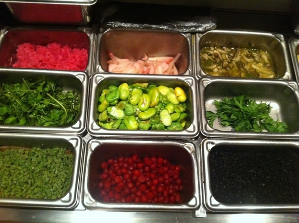 Topolo mise en place:center: pkld ramps, rstd favas, jamaica-pkld jcama.Bottom incl salt-cure nopal,dehydro olive